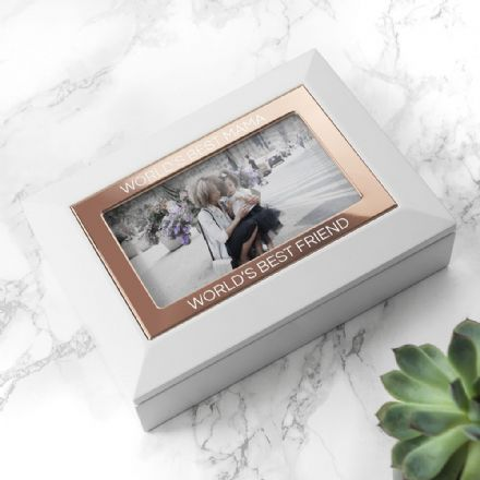 Personalised  White & Rose Gold Effect Photo Jewellery Box